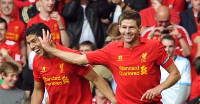 Suarez and Gerrard: Celebrations on Sunday