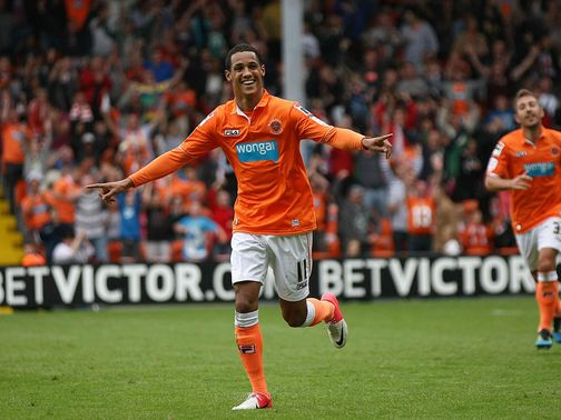 Ince celebrate his goal for Blackpool