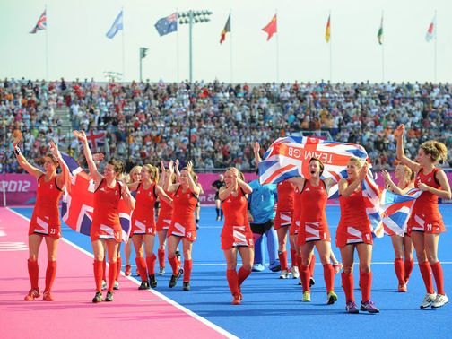Team GB do a lap of honour after their victory