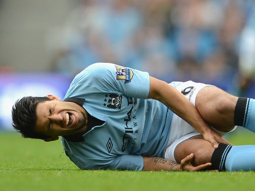 Sergio Aguero: Fell awkwardly against Southampton