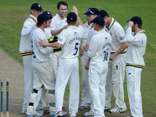 Graham Onions and Durham celebrate a wicket