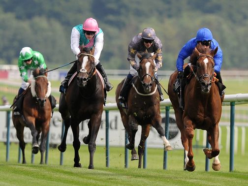 Hunter's Light leads his rivals home in the Rose Of Lancaster Stakes
