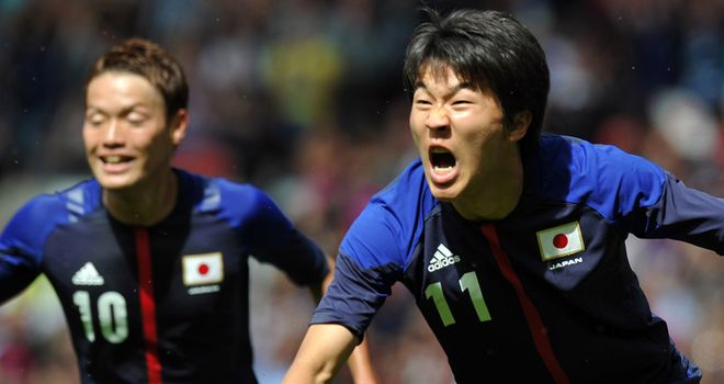 Kensuke Nagai: Celebrates his opening goal against Senegal in the quarter-finals