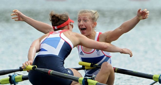 Katherine Copeland and Sophie Hosking celebrate after creating history