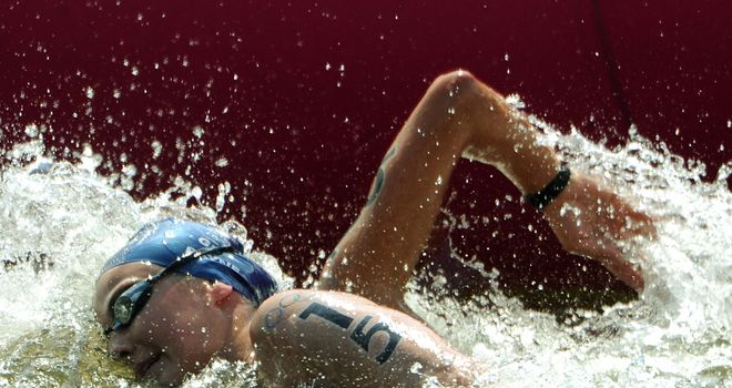 Keri-Anne Payne competing in the open water event