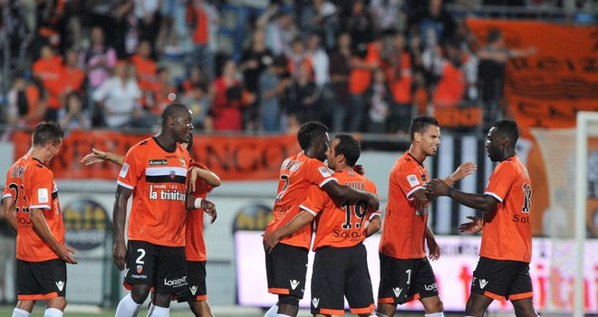 Lorient celebrate against Montpellier