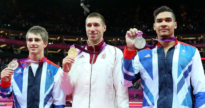 Louis Smith (R), Max Whitlock (L) and Krisztian Berki