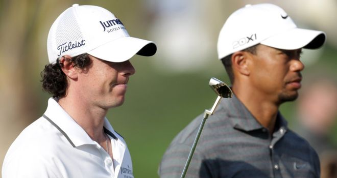 McIlroy and Woods: the world's top two will battle it out in Abu Dhabi