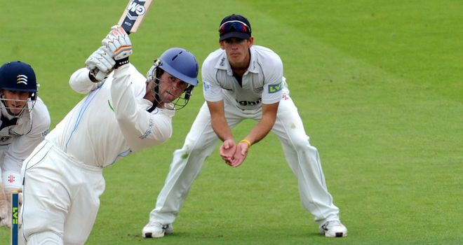 Ross Whiteley in action for Derbyshire