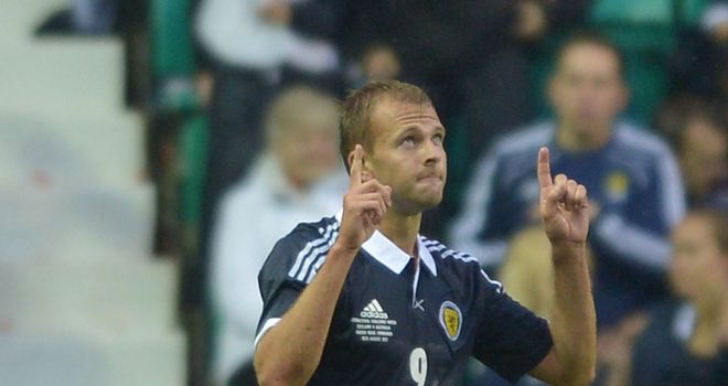 Jordan Rhodes: Celebrates his first Scotland goal after netting 40 times for Huddersfield last season