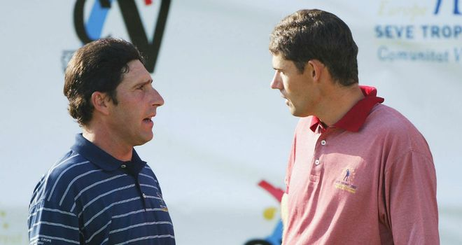 Jose Maria Olazabal (L) chose to ignore the wildcard claims of three-time major winner Padraig Harrington (R)