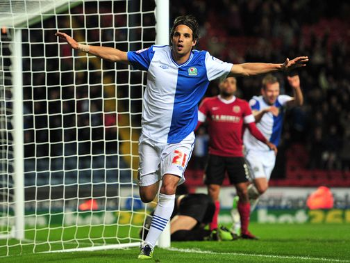 Nuno Gomes celebrates for Blackburn