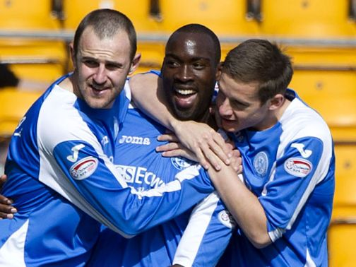 Gregory Tade celebrates his goal for St Johnstone