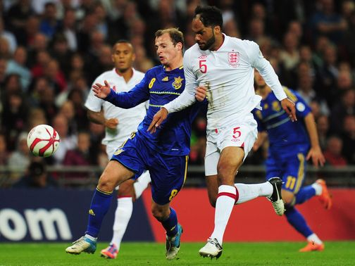 Joleon Lescott in action against Ukraine.
