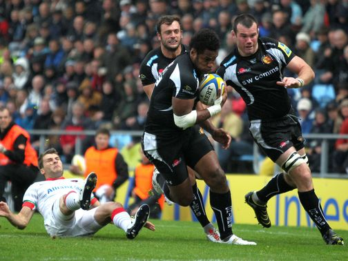 Sireli Naqelevuki scores a try for Exeter
