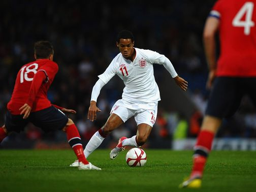 Tom Ince in action for England Under-21s against Norway.