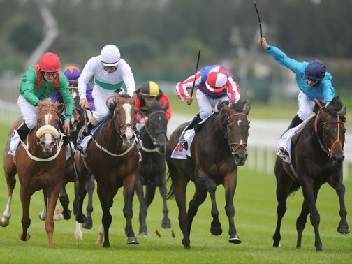 Royal Diamond (second right) wins a thrilling Irish St Leger