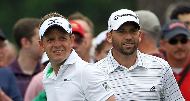 Luke Donald (left) and Sergio Garcia: four wins from four games in foursomes play