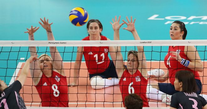 Great Britain's women's sitting volleyball team in action in London