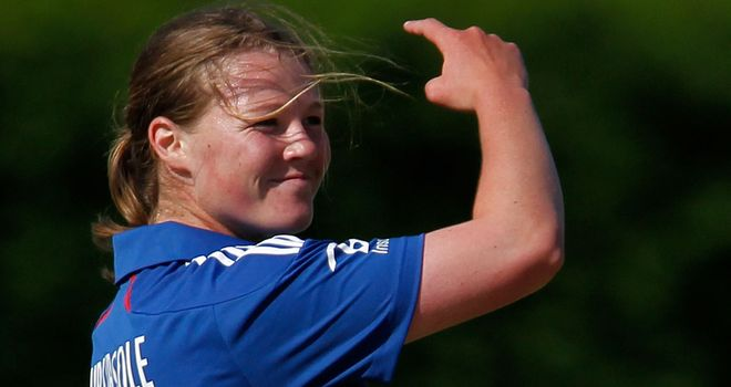 Shrubsole celebrates one of her four wickets against Pakistan at Loughborough University
