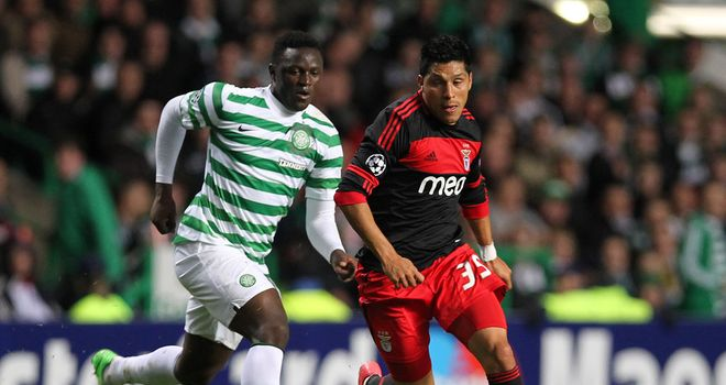 Wanyama and Perez: Battle for the ball at Parkhead