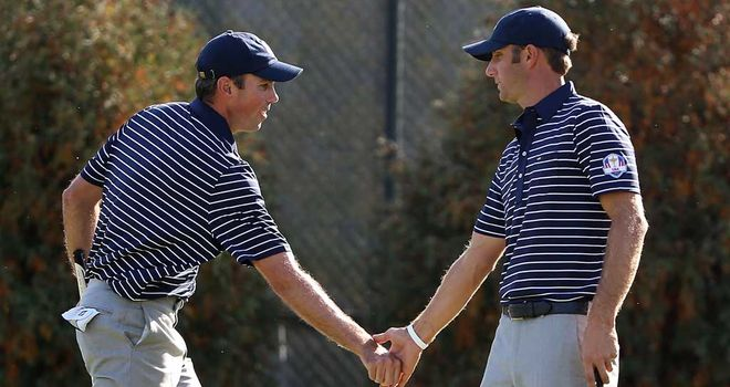Matt Kuchar (left) and Dustin Johnson: crucial point for USA