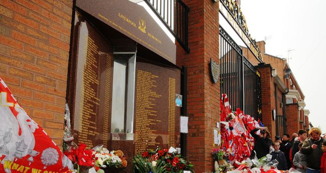 The memorial at Anfield to the 96 who died at Hillsborough
