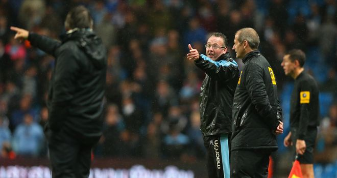 Paul Lambert makes a point to Roberto Mancini in November's meeting