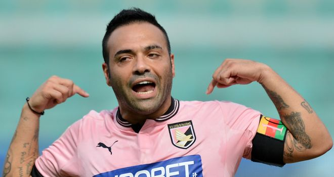 Fabrizio Miccoli enjoys the first goal of his hat-trick.