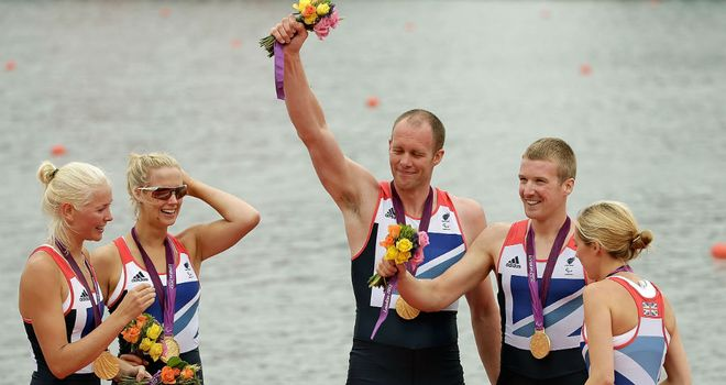 LTA mixed coxed four: David Smith celebrated with his team