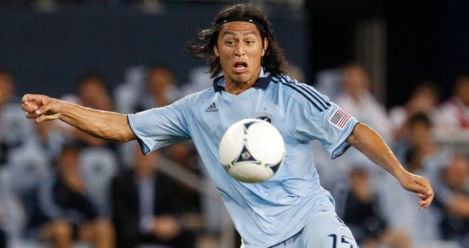Roger Espinoza: Honduras midfielder in action for Sporting Kansas City