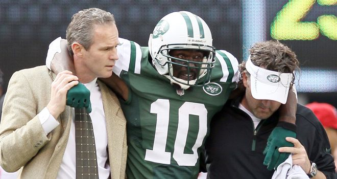 New York Jets wide receiver Santonio Holmes has been ruled out for the season