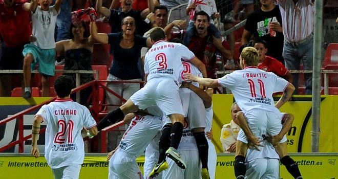 Sevilla celebrate against Real Madrid