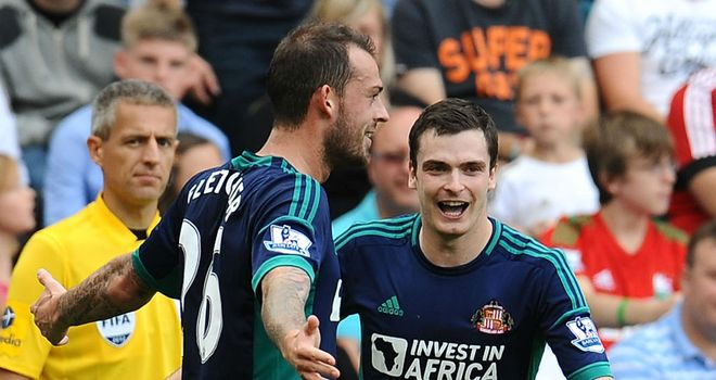 Steven Fletcher: Celebrating with fellow Sunderland new boy Adam Johnson