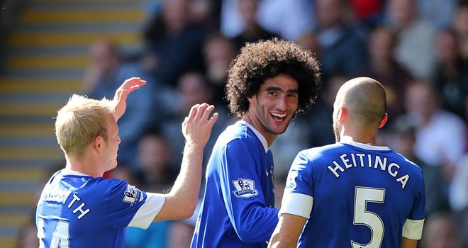 Marouane Fellaini: Was influential once again as Everton eased to victory