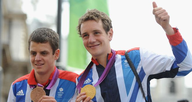 Brownlee brothers: Show off their medals during the athletes parade