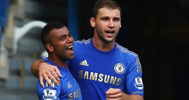 Branislav Ivanovic celebrates with Ashley Cole after the left-back's winner against Stoke