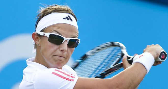 Kirsten Flipkens: had recorded an impressive first-round victory over top seed Dominika Cibulkova