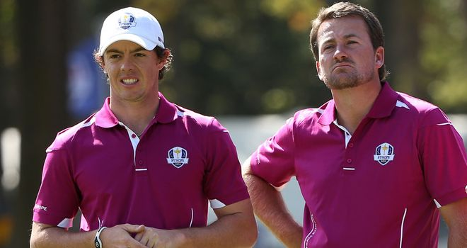 Rory McIlroy and Graeme McDowell in Ryder Cup action