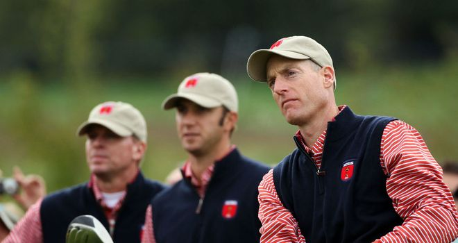 Jim Furyk (R), Dustin Johnson (C) and Steve Stricker (L) are all looking forward to representing America