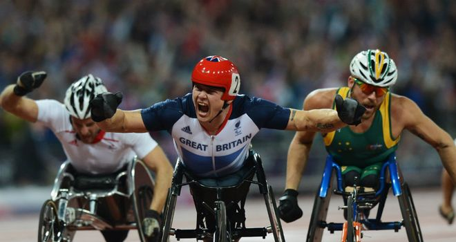 David Weir: celebrating the first of what he hopes will be four gold medals in London