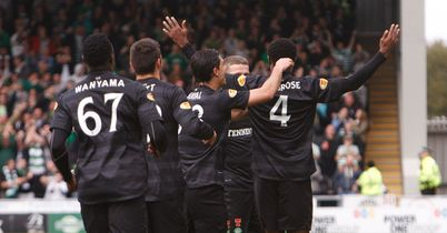 Ambrose (r): Celebrates his goal for Celtic