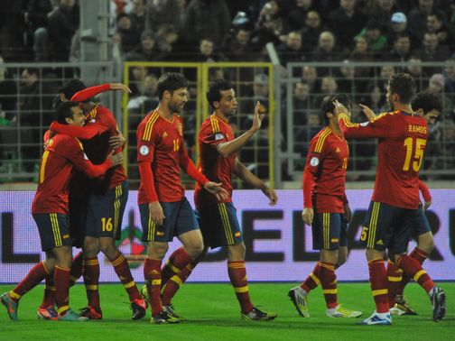 Spain celebrate a big win over Belarus.