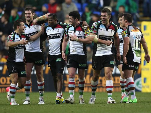 Harlequins celebrate their late, late victory