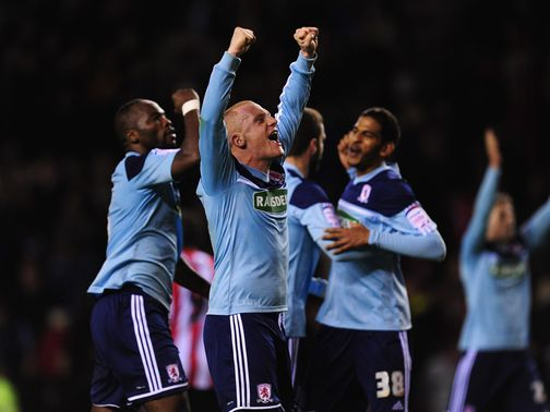 Middlesbrough celebrate against Sunderland