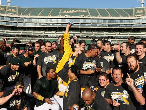 The Oakland Athletics celebrate the AL West title.