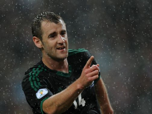 Niall McGinn celebrates his goal for Northern Ireland