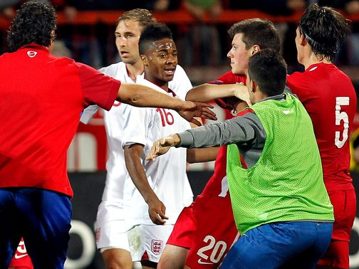 England U21s clashed with Serbia's players