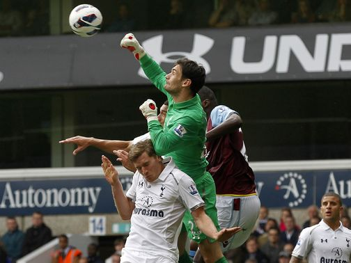 Hugo Lloris in action against Aston Villa.