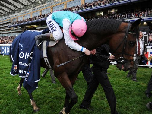 Tom Queally hugs Frankel after his final win at Ascot